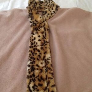 Tan Long Cape with Animal Faux Fur Trim, One Size